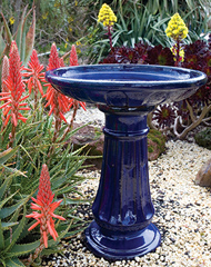 Primo Glazed Miami Birdbath in Blue